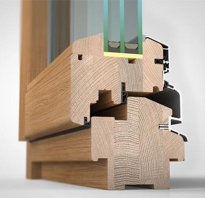 Ansicht von schräg innen, Holzfenster HW97 mit wetterfester Schale