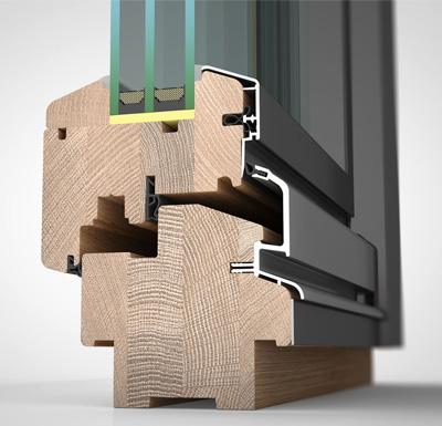 Detailansicht außen, Holz/Alu-Fenster wetterfeste Schale HW97
