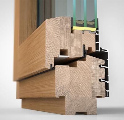 Ansicht von schräg innen, Holz-/Alufenster HA87M