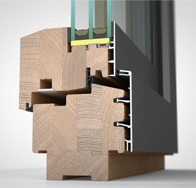 Ansicht von schräg aussen, Holz-/Alufenster HA97M