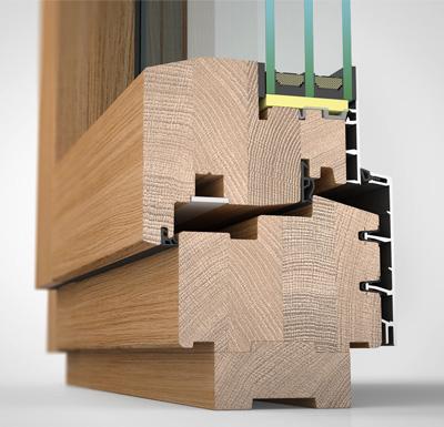 Ansicht von schräg innen, Holz-/Alufenster HA97M