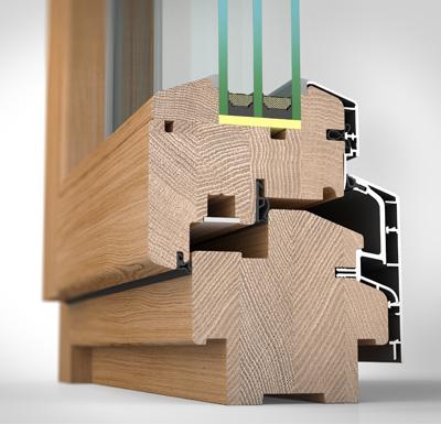 Ansicht von schräg innen, Holz-/Alufenster HA97