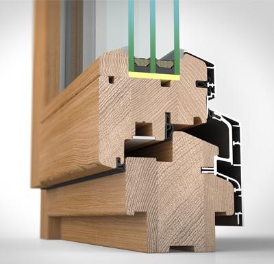 Ansicht von schräg innen, Holz-/Alufenster HA87