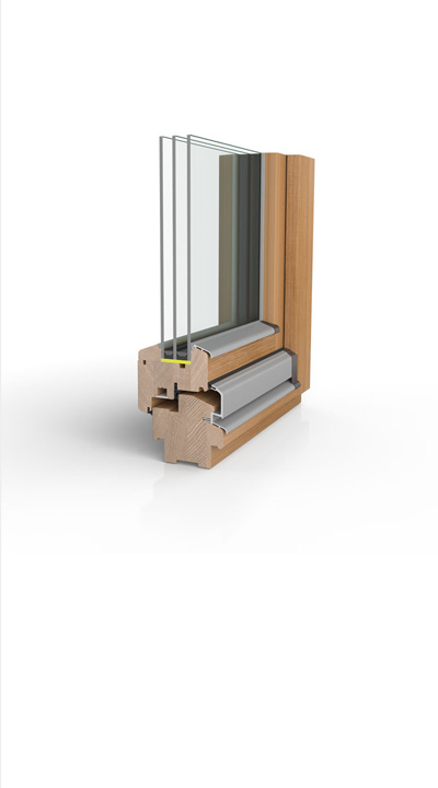 Holzfenster H90 mit 3-fach Wärmeschutzglas