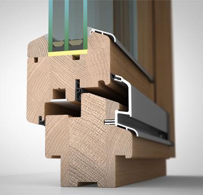 Ansicht von schräg aussen, Holzfenster H80 mit 3fach-Wärmeschutzverglasung