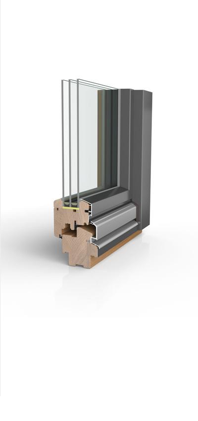 Holzfenster HW87 mit wetterfester Schale