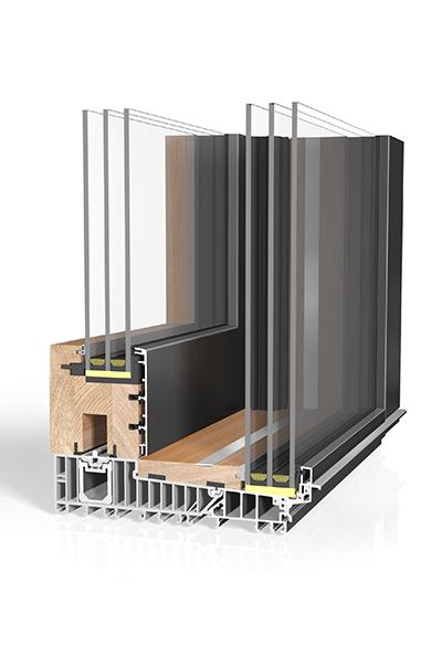 Hebeschiebetür Holz/Aluminium HST HA87 Sky