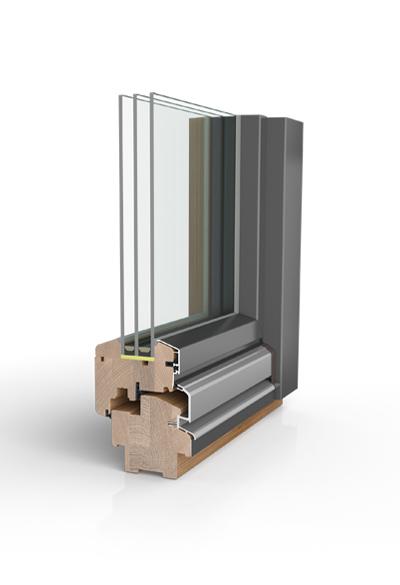 Holz/Alu-Fenster wetterfeste Schale HW97 SAFE