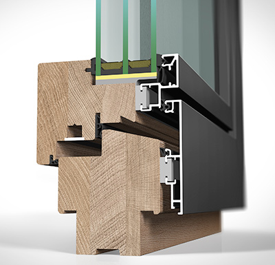 Detailansicht außen Holz/Alu-Fenster HA97MB flächenbündig
