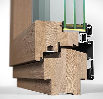 Detailansicht innen Holz/Alu-Fenster HA109MB flächenbündig