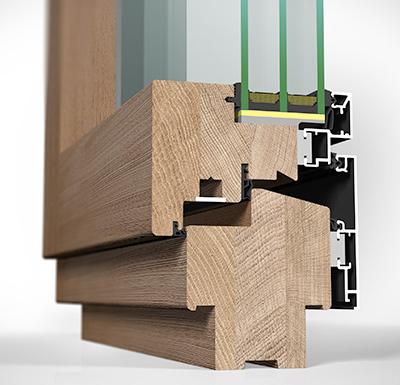 Detailansicht innen Holz/Alu-Fenster HA97MB flächenbündig