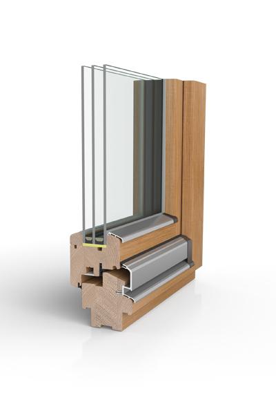 Holzfenster H80 mit 3-fach Wärmeschutzglas