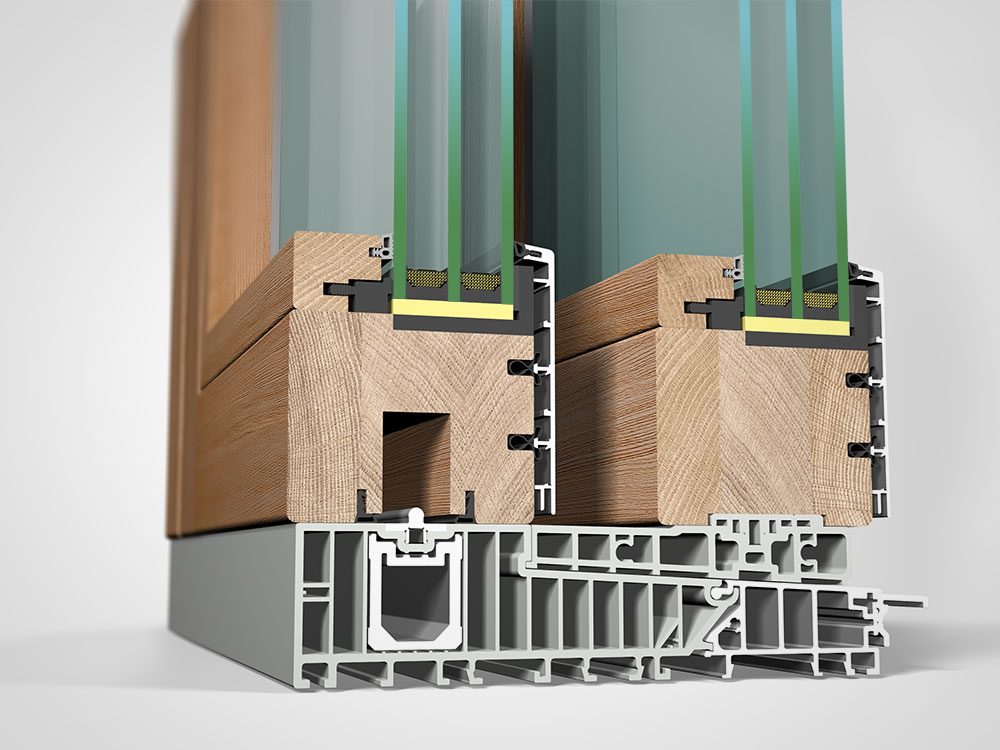 Ansicht von schräg innen, Hebeschiebetüre Holz/Aluminium HA87