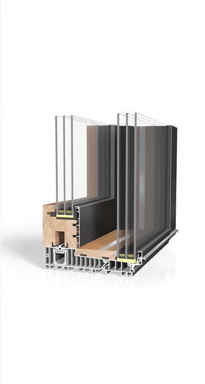 Hebeschiebetüre Holz/Aluminium HA87 Sky