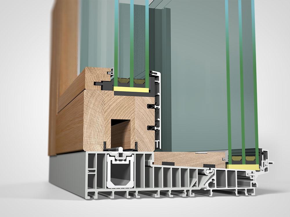 Ansicht von schräg innen, Hebeschiebetüre Holz/Aluminium HA87 Sky
