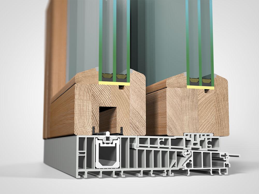 Ansicht von schräg innen, Hebeschiebetüre Holz H90